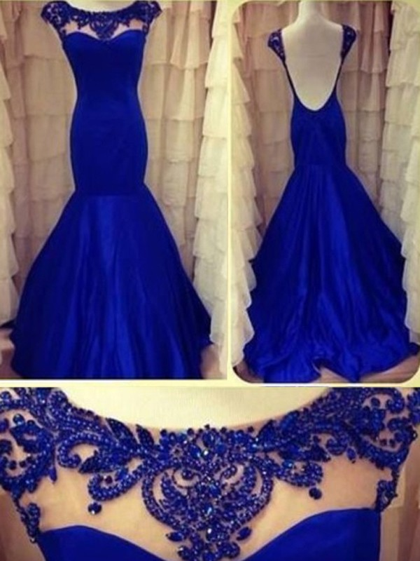 Trumpet/Mermaid Scoop Taffeta Sleeveless Floor-Length Prom Dresses