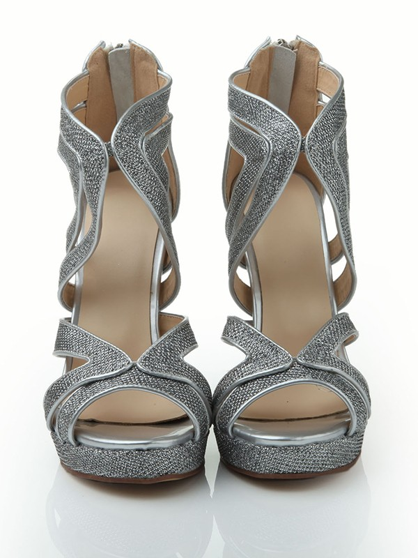 Women's Stiletto Heel Peep Toe Elastic Leather Platform With Sequin Sandals Shoes