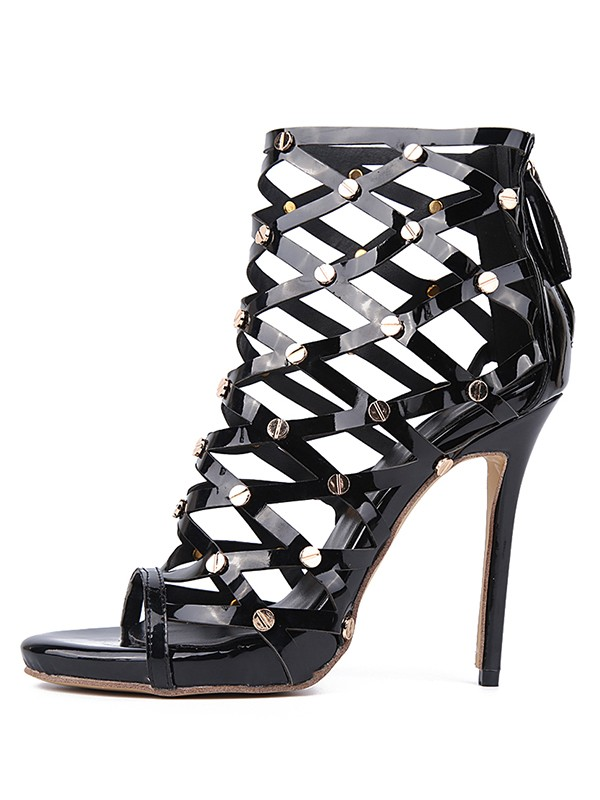Women's Patent Leather Peep Toe Stiletto Heel With Laser Rivet Platform Sandals Shoes