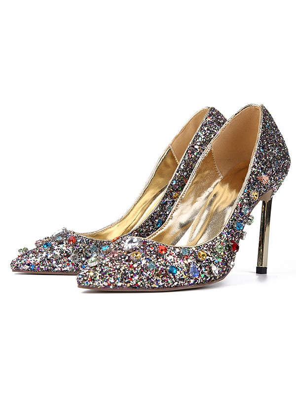 Women's Sparkling Glitter Closed Toe with Rhinestones Stiletto Heel High Heels