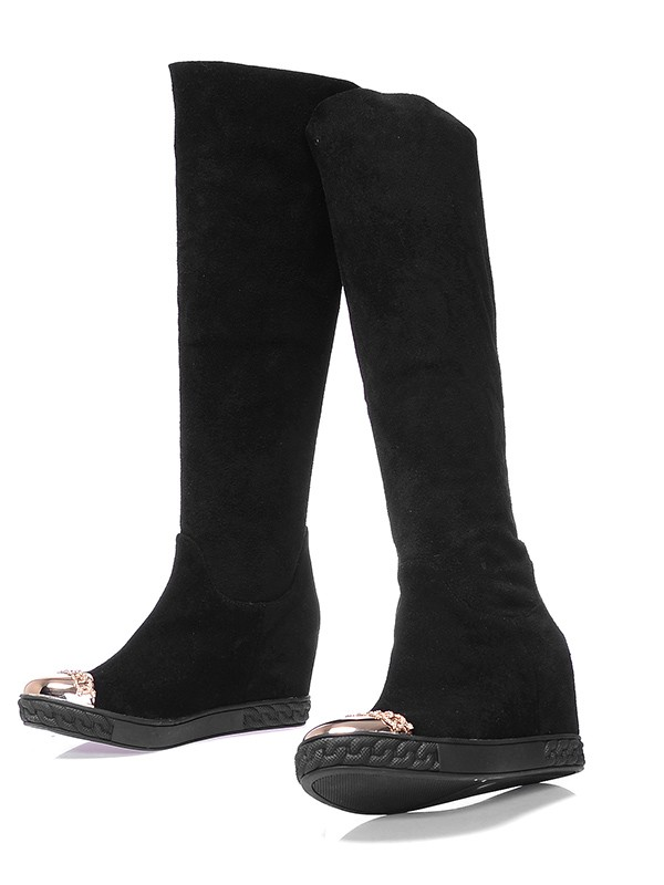 Women's Suede Closed Toe Wedge Heel Knee High Black Boots