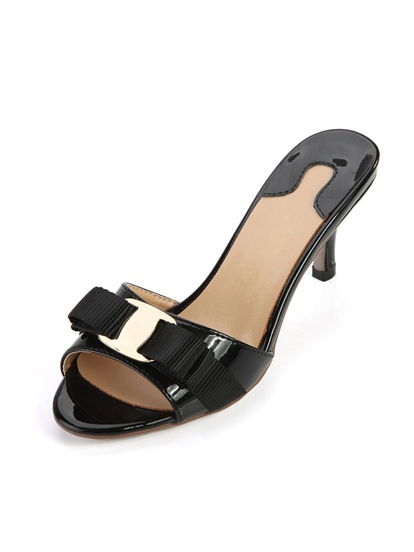 Women's Cone Heel Patent Leather Peep Toe Sandals Shoes