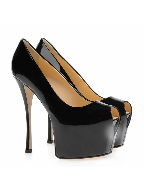 Women's Patent Leather Stiletto Heel Peep Toe Platform High Heels