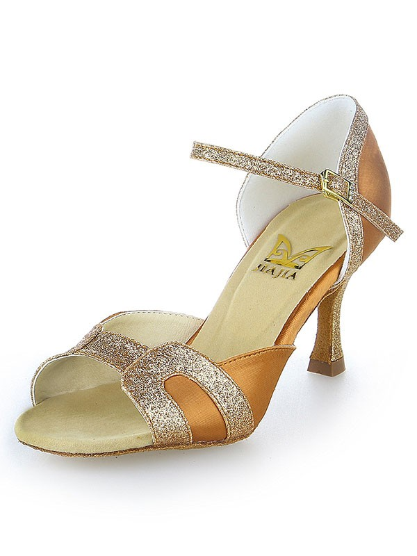 Women's Stiletto Heel Satin Peep Toe Sparkling Glitter Dance Shoes