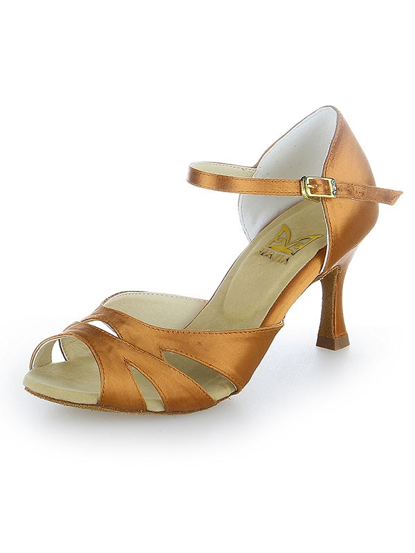 Women's Peep Toe Buckle Satin Stiletto Heel Dance Shoes