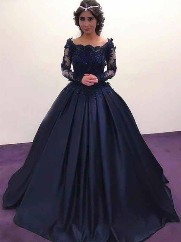 Ball Gown Bateau Satin Long Sleeves Sweep/Brush Train Dresses