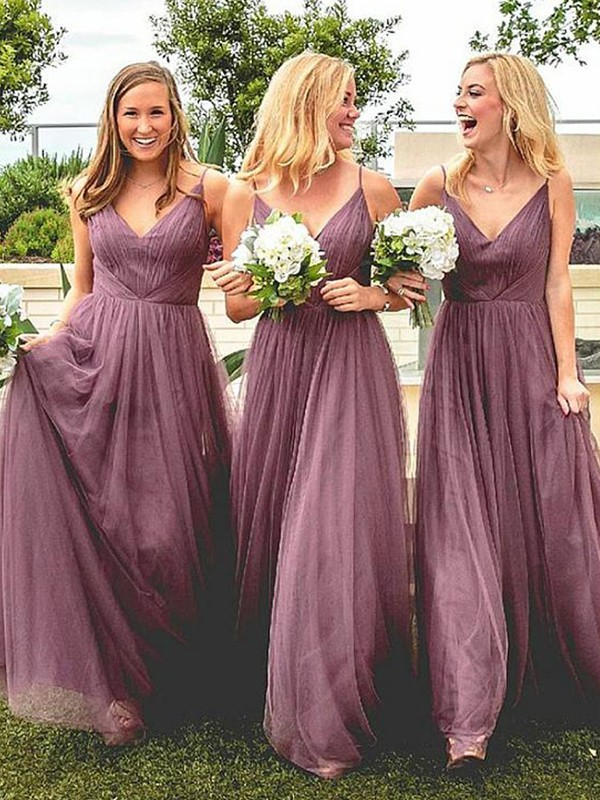 A-Line/Princess Spaghetti Straps Tulle Sleeveless Floor-Length Bridesmaid Dresses