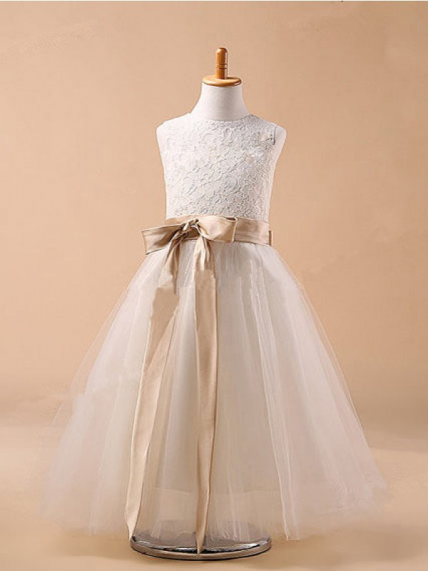 Ball Gown Jewel Tulle Sleeveless Tea-Length Flower Girl Dresses
