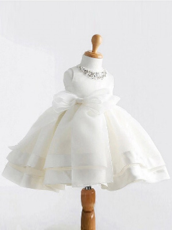 Ball Gown Jewel Satin Sleeveless Tea-Length Flower Girl Dresses